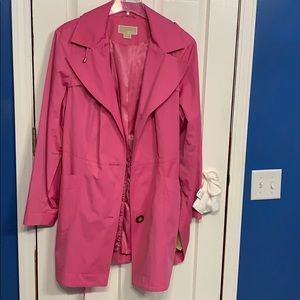 Michael Kors pink hooded trench coat size 2X